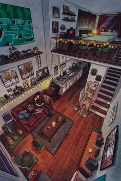 Aesthetic Rooms, Aesthetic Art, Home Room Design, House Design, Design Design, Cozy Cabin, Anime Scenery, Dream Rooms, House Rooms