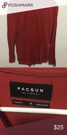 44ba05eb6feac9 Pacsun red long sleeve scallop shirt size medium