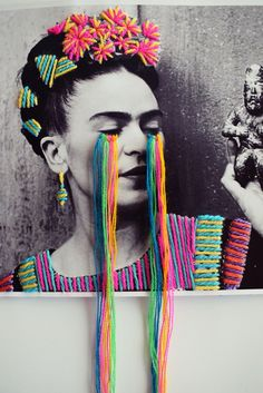 """Frida print 11""""x 8.5"""" (28 x 21 cm) Original work hand finished with yarn embroidery. Shipping is $10 USD for anywhere in USA. Via normal..."""