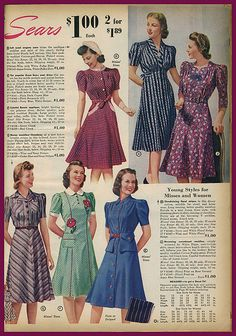 1940s vintage fashions...look at the price! These were what my mom, aunts & grandma referred to as 'house dresses!'