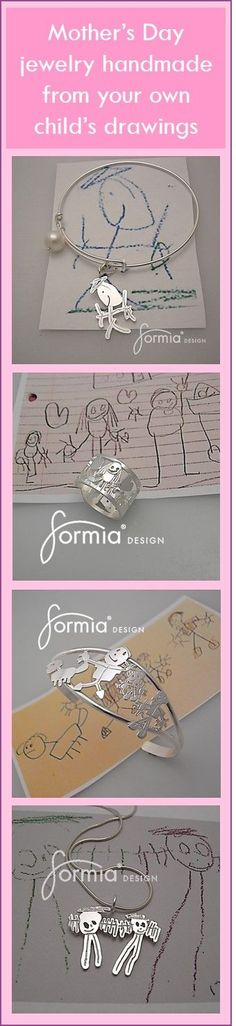 Look no further for your perfect Mother's Day gift. Handmade jewelry by an expert goldsmith, created from YOUR OWN artwork! Just send us an image for a FREE estimate: http://www.formiadesign.com/jewelry-design-by-kids/