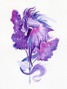 Lilac dragon Stationery Cards by AlviaAlcedo - Set of 3 Folded Cards x Mythical Creatures Art, Fantasy Creatures, Cute Dragon Drawing, Dragon Tattoo Drawing, Dragon Drawings, Animal Drawings, Art Drawings, Cute Dragons, Dragon Art