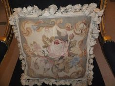 GORGEOUS AUBUSSON STYLE TAPESTRY NEEDLEPOINT FLORAL CUSHION COVER