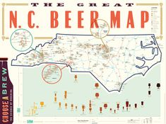 www.ediamaps.com  The Great NC Beer Map details every craft brewery and major beer festival in North Carolina. It's your one-stop guide with everything you'll need to know before setting out on the road. Use the map for tracking down new breweries, finding a place to visit when you're in a new town, or putting together your own brewery tour. It's also a way to keep track of all the North Carolina breweries you've visited, by marking each symbol once you've been.
