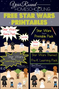 Free Star Wars Printables - Pre-K through Middle School