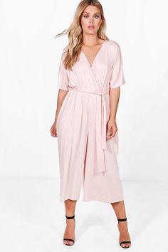 8b880b9c6f63 Plus Lisa Jersey Kimono Sleeve Wrap Jumpsuit Wrap Jumpsuit, Wrap Dress,  Playsuit, Plus. Boohoo UK