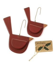 Take a look at this Cardinal Bird Ornament - Set of Two by Collins on #zulily today!