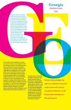 The typeface Georgia was created in 1993 by Matthew Carter