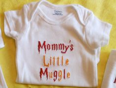 Harry Potter themed machine embroidered by GrandmasCreationsEtc, $13.00 For when i have a baby!