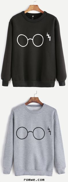 Black & Grey Glasses Print Sweatshirt