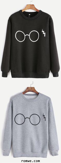 Black & Grey Glasses Print Sweatshirt