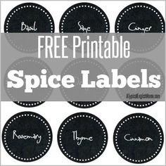 Free Printable Spice Jar labels.. Enjoy -:)