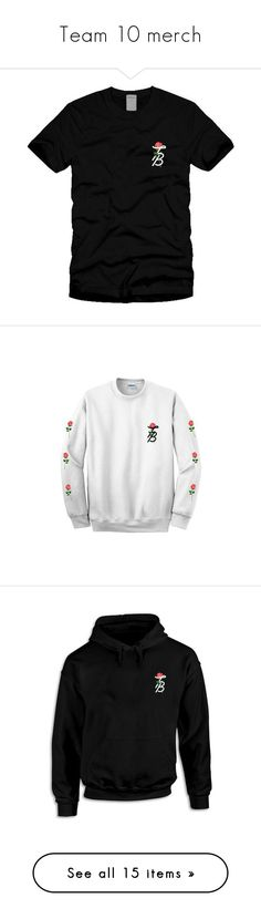 """Team 10 merch"" by angellynn02 ❤ liked on Polyvore featuring tops, sweaters, crew neck tops, white sweaters, crew neck sweaters, crewneck sweater, white crew neck sweater, hoodies, jake paul and camo print hoodie"