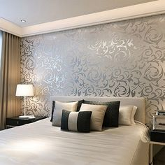 European waterproof living room wallpaper ,bedroom sofa tv backgroumd of wall paper roll silver color wall sticker