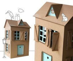 Make  your own dollhouse from readily available materials. Cardboards, shoe boxes, shelves, old bookcases… are perfect to built a miniature house.