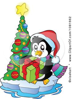 Clipart Christmas Penguin With A Gift And Tree On Ice - Royalty Free Vector Illustration by visekart