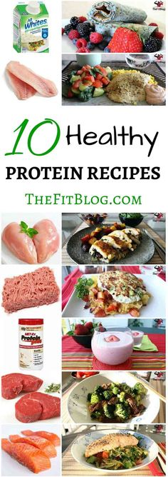 List of healthy proteins and high-protein recipes. Whether you are in the mood for chicken, steak or tofu, here is something for you. Best High Protein Foods, High Protein Low Carb, High Protein Recipes, Protein Snacks, Healthy Protein, Healthy Snacks, Healthy Eating, Protein Cake, Protein Muffins
