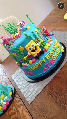 Two tiered spongebob cake Spongebob Birthday Party, Birthday Cake Girls, Cake Decorating Designs, Cake Decorating Techniques, Zoe Cake, Fondant, Batman Cakes, Star Cakes, Cake Business