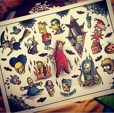 Simpsons tattoo flash by bootattoo89