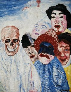 James Ensor 1897 – symbols used to represent ideas and subjects /// In this painting: – dark facial emotions (ex. women on left seems pained) – subject of death; people seem to be in the clouds – symbol of death; skull face Source by - Oil On Canvas, Canvas Wall Art, Canvas Paintings, James Ensor, Art Nouveau, Red Wall Art, Oeuvre D'art, Creative Art, Les Oeuvres