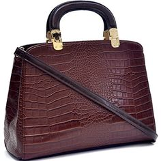 Dasein Faux Croco Leather Hinge Handle Laptop, Tablet, iPad Bag Satchel Briefcase Shoulder Handbag Purse with Removable Shoulder Strap - Brown