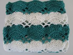 Easy Crochet Blanket Pattern Large Fan Stitch by KathieSewHappy