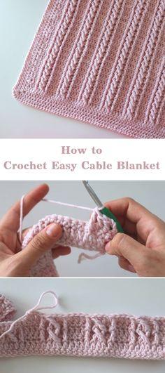 Crochet Simple, Crochet Diy, Crochet Afghans, Baby Blanket Crochet, Crochet Crafts, Crochet Blanket Stitches, Crochet Stitches For Beginners, Knitting Stitches, Beginner Crochet Blankets
