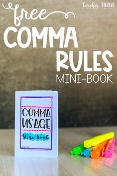 Comma rules don't have to be so confusing. Use this free mini-book with your students to keep their punctuation on point! Grammar Activities, Teaching Grammar, Grammar Lessons, Teaching Writing, Teaching Tips, Motor Activities, 6th Grade Ela, 4th Grade Writing, 4th Grade Reading
