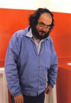 Director Stanley Kubrick on the Red Bathroom set of The Shining.