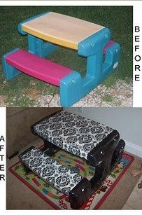 Cover a play table in oilcloth to create a water-resistant outdoor picnic table for the kids. Get the directions and tons more examples here. http://caroline-frei.blogspot.com/2012/06/kids-picnic-table-redo.html  |   Genius Hacks Guaranteed To Make A Parent's Job Easier