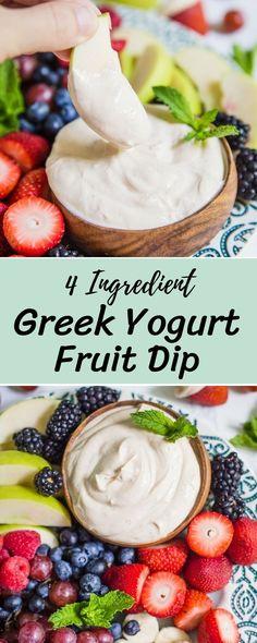 4 ingredient greek yogurt fruit dip recipe healthy meal prep recipes in 201 Greek Yogurt Dessert, Greek Yogurt Dips, Fruit Yogurt, Vegan Yogurt, Healthy Yogurt, Healthy Fruits, Recipes With Greek Yogurt, Vegan Milk, Greek Yogurt Recipes Breakfast