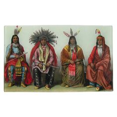 "Sitting Indians  A dignified portrait for four Native Americans in traditional dress. Decoupaged on glass with felt backing. 7 x 11.5"" #johnderian"