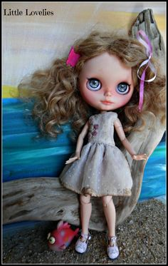 BLYTHE DOLL Dress - OOAK - Hand Embroidered pink rosebuds on vintage linen and flock by CooeeChris on Etsy