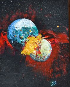 Original planet art: Two planets colliding by Ashroc on Etsy