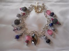 Pink blue & silver beaded necklace by ThePinkSpur on Etsy, $30.00