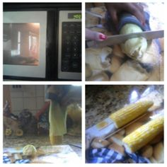 Corn on the Cobb in just 5 minutes!! Step 1: heat corn in microwave for 4 minutes. Step 2: cut 1-2 inches off end of corn. Step 3: hold corn up vertically, so corn slides right out of its leaves. Step 4: add stick, and enjoy!!