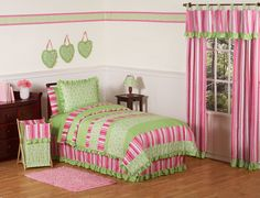 Pink Lime Green Girl Comforter Sets Twin Full/Queen Bedding Ruffled Scroll & Stripe - Olivia