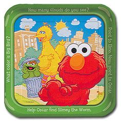 "Sesame Street Dinner Plate Square plate, ,measures 9"", includes 8 in a package"