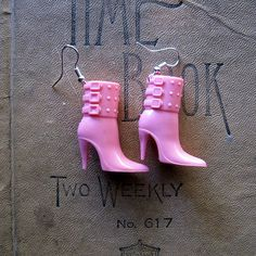 These Boots Were Made For Walkin Repurposed Barbie Pink 1980s Style Ankle Boot Earrings