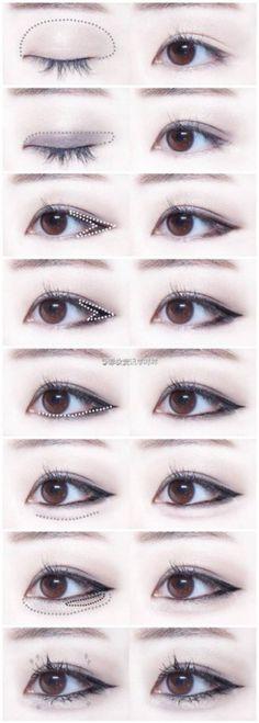 Trendy Makeup Korean Tutorial Eyeliner Make Up 63 Ideas Asian Makeup Tutorials, Korean Makeup Tips, Korean Makeup Look, Asian Eye Makeup, Cat Eye Makeup, Dark Skin Makeup, Prom Makeup, Eyeshadow Tutorials, Hair Makeup