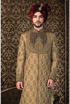 Wedding Sherwani, Jodhpuri Sherwani, Sherwani, Sherwani for Men, Western Sherwani. The attire gives a strong ethnic edge to men and has proved itself as one of the classic Indian attire not only in India but also globally. Blue Sherwani, Zardosi Work, Wedding Sherwani, Indian Attire, Traditional Dresses, Wedding Designs, High Neck Dress, Mens Fashion, Portrait