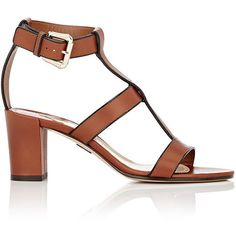 Paul Andrew Women's Salma T-Strap Sandals (11 360 ZAR) ❤ liked on Polyvore featuring shoes, sandals, brown, brown sandals, shiny shoes, t-bar sandals, high heel shoes and leather sole shoes