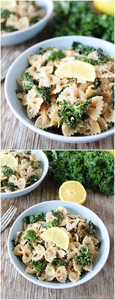 Goat Cheese Lemon Pasta with Kale Recipe on http://twopeasandtheirpod.com This healthy pasta dish takes less than 30 mins. to make and is SO good!