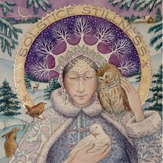 Yule/Winter Solstice : Cards by Occasion / Recipient : Home : Pagan/spiritual and fairy/fantasy greeting cards, prints and gifts at Moondragon Art And Illustration, Celtic Goddess, Pagan Art, Winter Art, Winter Solstice, Our Lady, Christmas Art, Xmas, Yule
