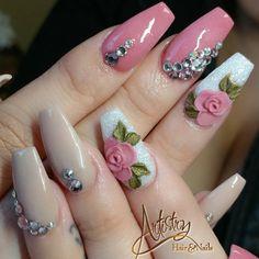 Perfect Nails, Gorgeous Nails, Chrome Nail Art, Diamond Nail Art, Manicure Nail Designs, Glow Nails, Glamour Nails, Flower Nail Designs, 3d Rose