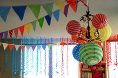 Party Decorations: Flags + Streamers + Lanterns