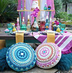 How to DIY a Bohemian Gypsy Themed Party with a Cricut — Mint Event Design Bohemian Theme, Bohemian Gypsy, Bohemian Living, Bohemian Party Decorations, Hanging Pom Poms, Gypsy Party, Hippie Birthday, Ibiza Party, Boho Diy