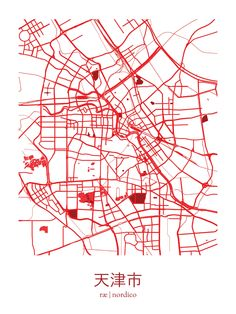 Tianjin, China Map Print