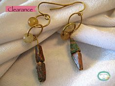 SALE 20% off, use coupon code: PIN10 EXTRA 10% off! CLEARANCE marked down from $12.  #Handcrafted brown earth tone gemstone earring with beige round beads.   For faster shipping call for pricing!  http://WireJewelryByDawn.Ets... #jewelry #necklace #jewelry #jewellery #handmade #handcrafted #beads #beadwork #earrings #beading