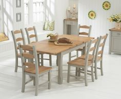 Buy the Somerset 130cm Oak and Grey Extending Dining Table with Somerset Chairs at Oak Furniture Superstore